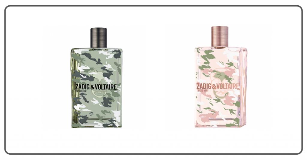 Dos botes de perfume de la fragancia this is her y this is his que muestran un diseño imitando el camuflaje rosa para ella y verde para el