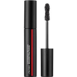 mascara de pestañas color negro en un bote negro tambien con una linea roja y  pincel especial para aplicarlo todo de la marca shiseido