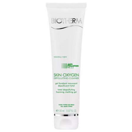 Bote blanco con letras en color verde que contiene un gel facial