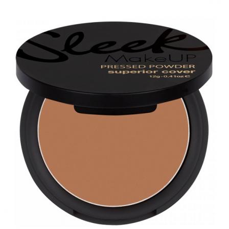 polvos compactos de maquillaje marrones en un bote con espejo color negro y letras doradas
