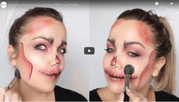 Imagen extraida del tutorial de youtube de Lucia Puebla donde se ve dos iagenes de la maquilladora mostrando como se aplica el iluminador