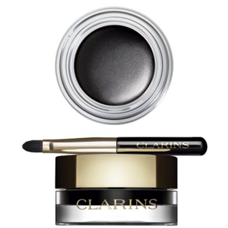 eyeliner color negro gel en un envase redondo con tapa dorada que incluye un pequeño pincel negro y dorado de la marca Clarins