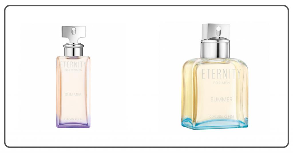 dos frascos de colonia de Calvin Klein en colores claros rosa para ella y amarillo para el