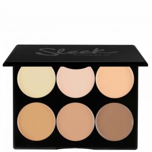 paleta de maquillaje de sleek para hacer couturing y consiste en seis circulos cada uno de un tono diferente de piel desde el mas claro al mas oscuro