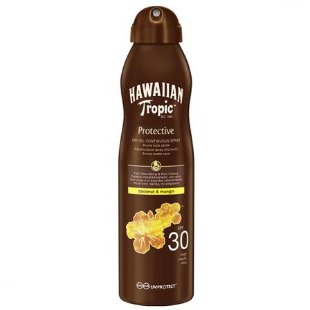 Bote con aceite seco para tomar el sol brocnearte y proteger la piel en color marron con letras y dibujo de flores en amarillo