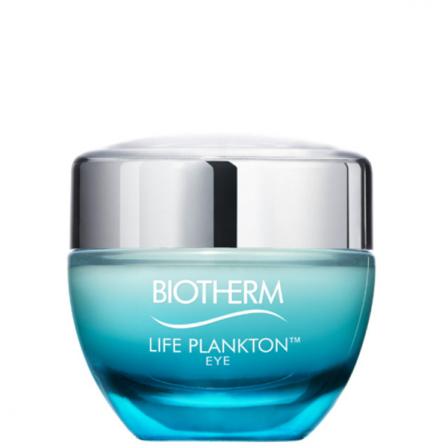 crema para el contorno de los ojos color azul con tapon plateado y letras blancas de la marca biotherm