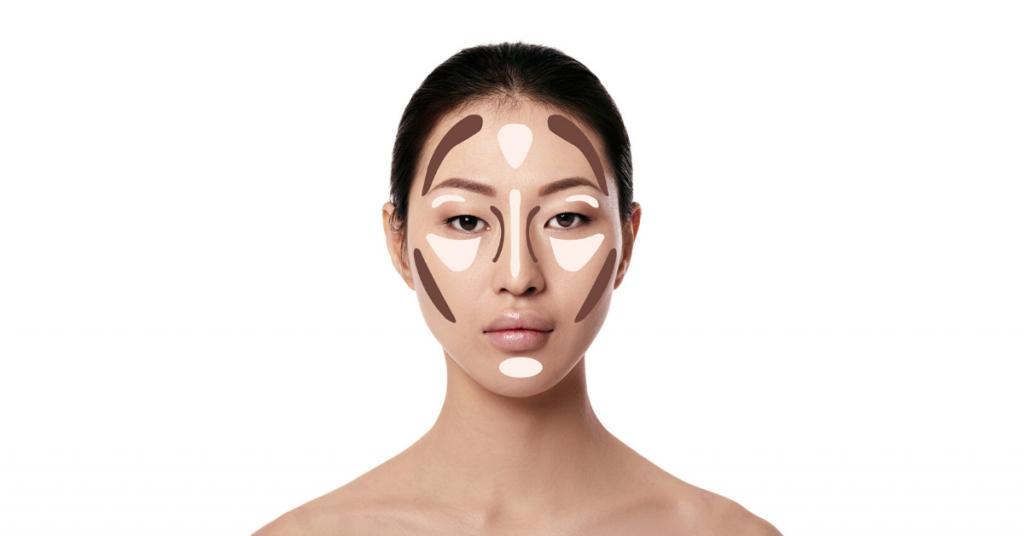 rostro de chica asiática con el pelo recogido y dibujos en la cara para ver donde se pone el iluminador