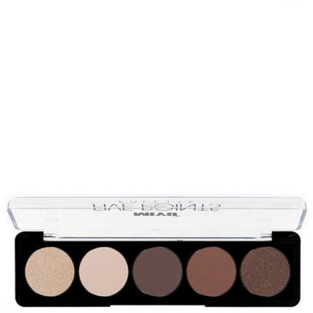 cinco tonos de sombras para los ojos en la gama de marrones y brillo y en un estuche rectancular con tapa trasparente y letras negras de miyo