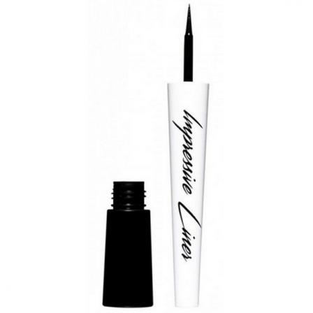 eyeliner color negro con pincel blanco y tarro con tinta color negro de miyo