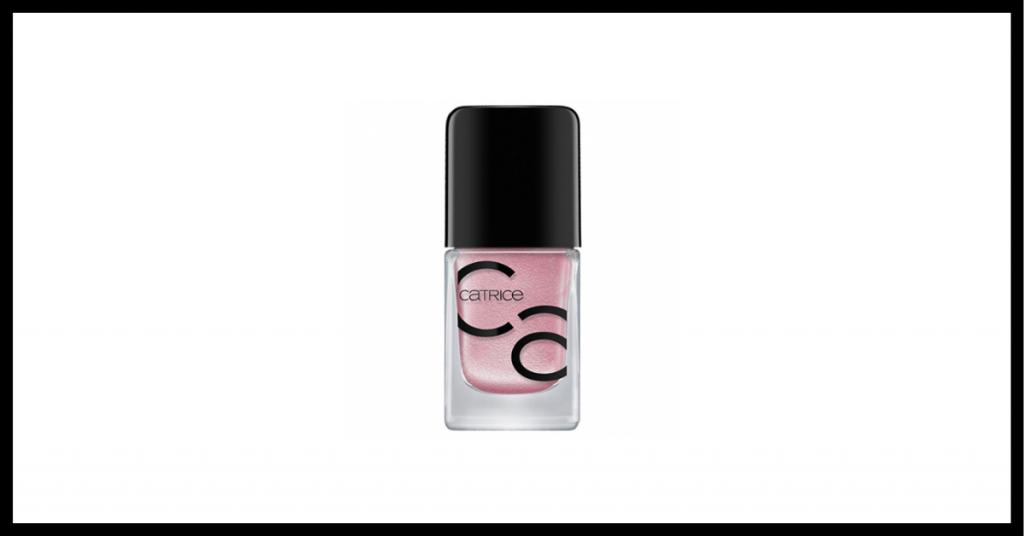 esmalte de uñas color rosa en un bote trasparente con el tapon y letras negras