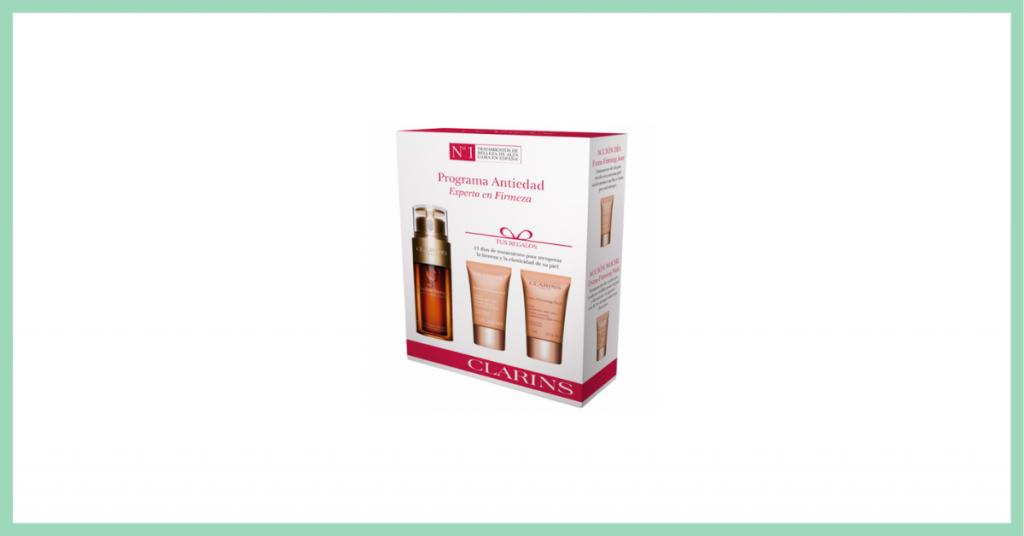 caja de carton con varios productos antienvejecimiento para la piel del rostro de la marca Clarins