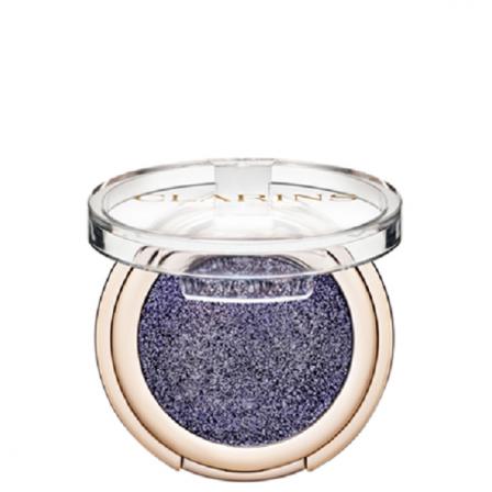sombra de ojos azul con brillo en recipiente redondo con tapa trasparente  de la marca Clarins