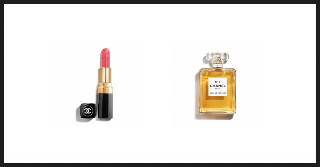 Pintalabios Rouge Coco y perfumer nº5 de Chanel sobre fondo en blanco con recuadro negro, dos de los mejores cosméticos y perfumes de Coco Chanel
