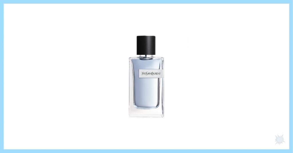 Fragancia Y de Yves Saint laurent con envase de cristal color azul y tapón negro y es una de as 4 ideas para regalar el día del padre y acertar con vuestros héroes