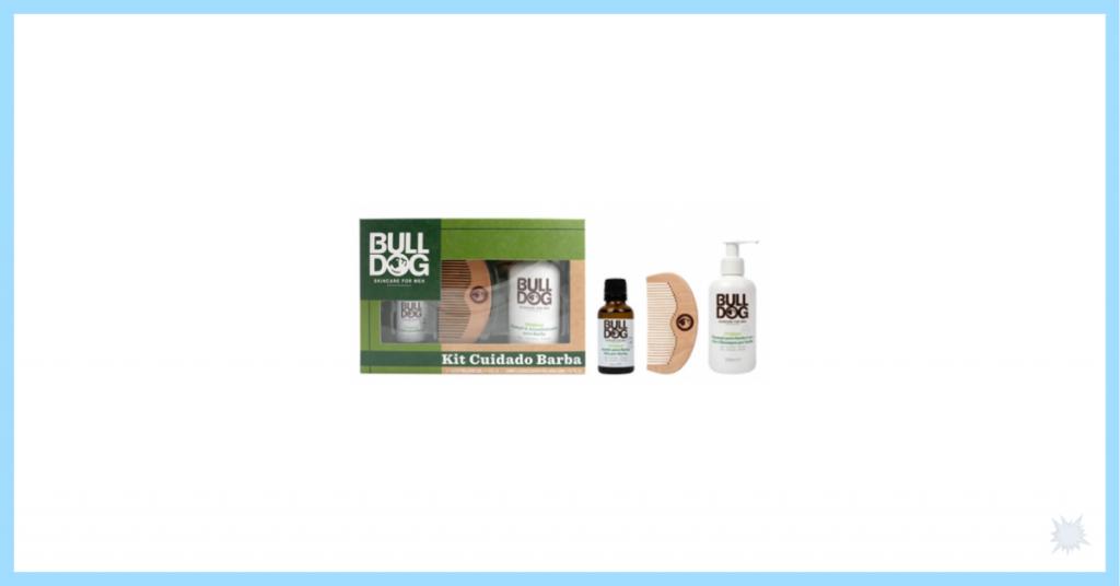 kit para barba de la marca Bulldog en una caja de cartón con detalles en verde y letras blancas y que incluye un gel de barba, un aceite y un peina y es el cuarto regalo por el dia del padre para acertar