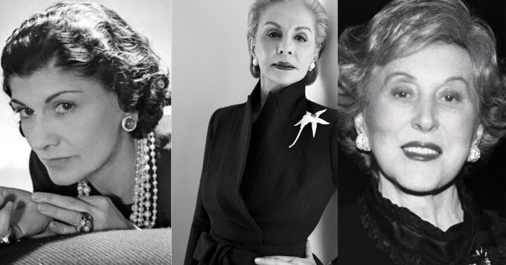 collage de fotografias en blanco y negro donde salen Coco Chanel, Carolina Herrera y Estée Lauder, 3 leyendas de la cosmética y la perfumería